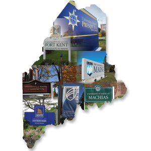 State of Maine showing entrance sign of all even campuses