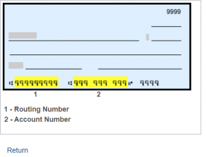 Sample Check with Account and Routing Number