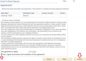 Direct Deposit Agreement Statement