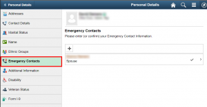 Emergency Contacts Page
