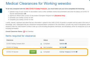Medical Clearance Exempt Screenshot
