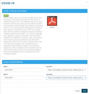 Vaccine Card Upload Verified Screenshot