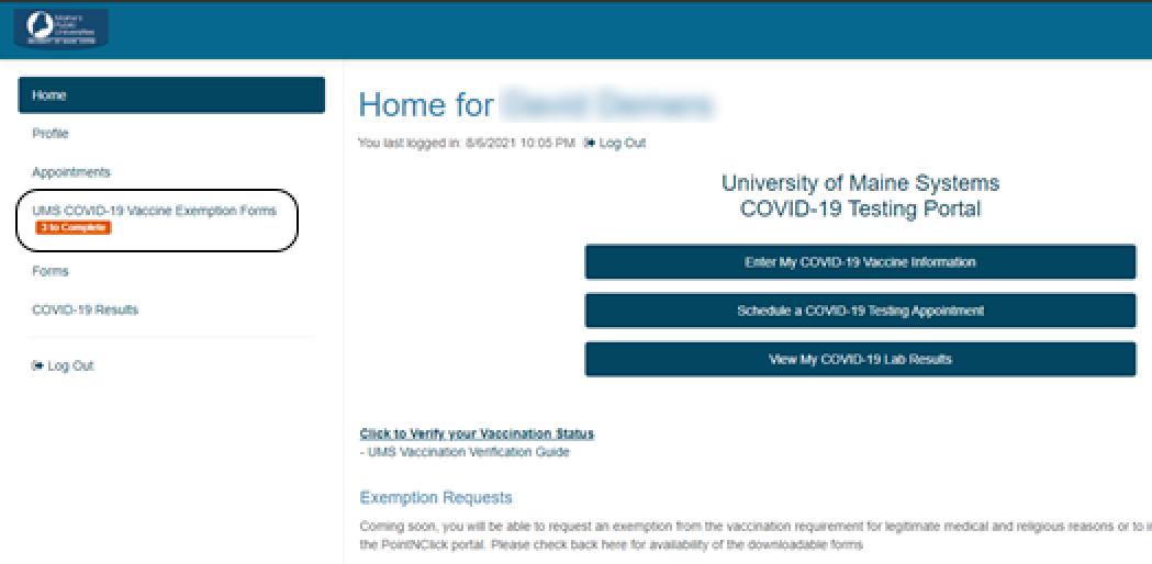 Vaccine Exemption Forms Screenshot