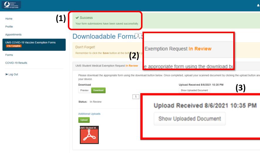 Upload Success Screenshot