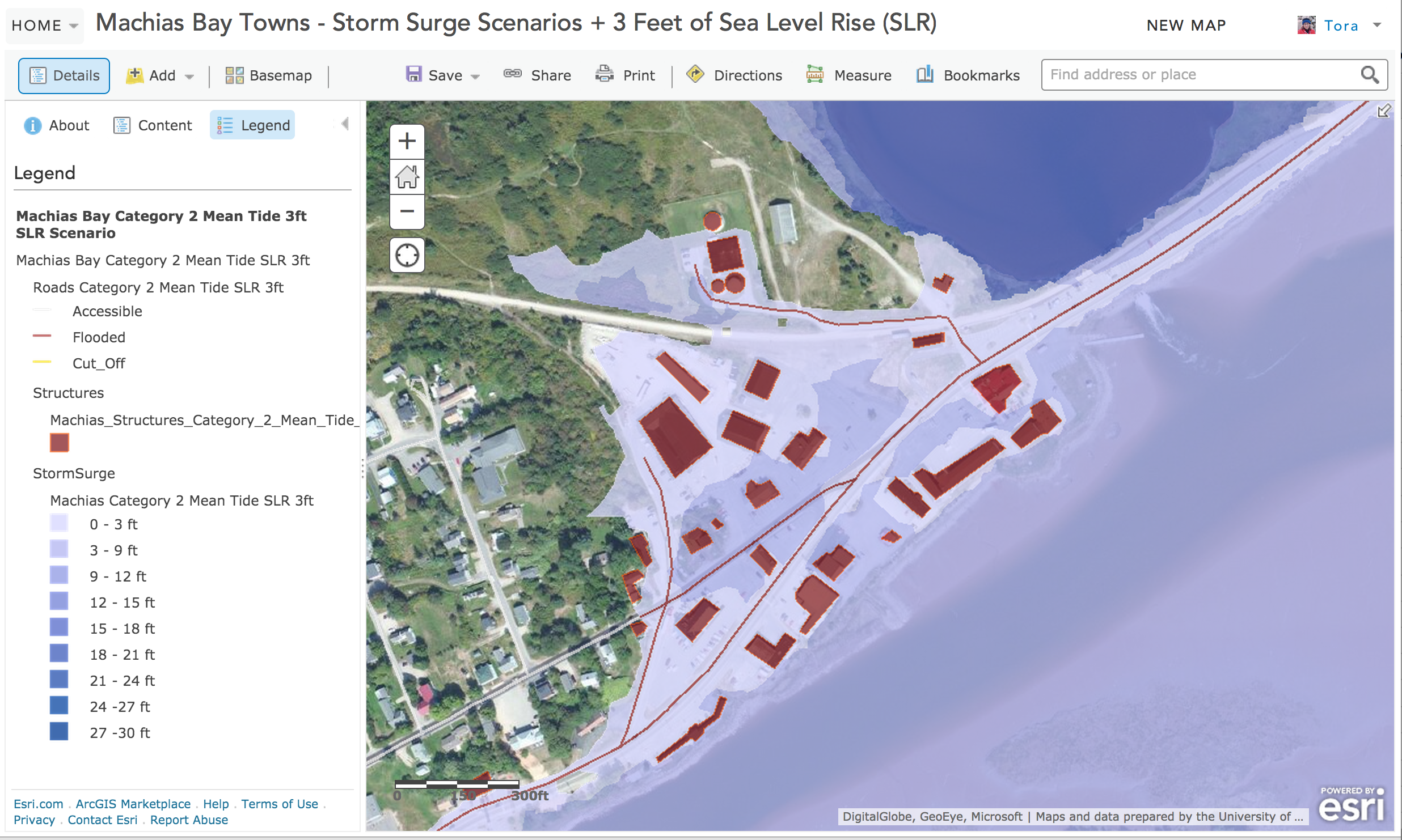 Machias, Maine map showing the community's vulnerability to climate change