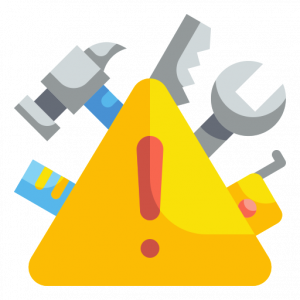 under construction icon with ruler, hammer, saw, wrench, and tape measurer