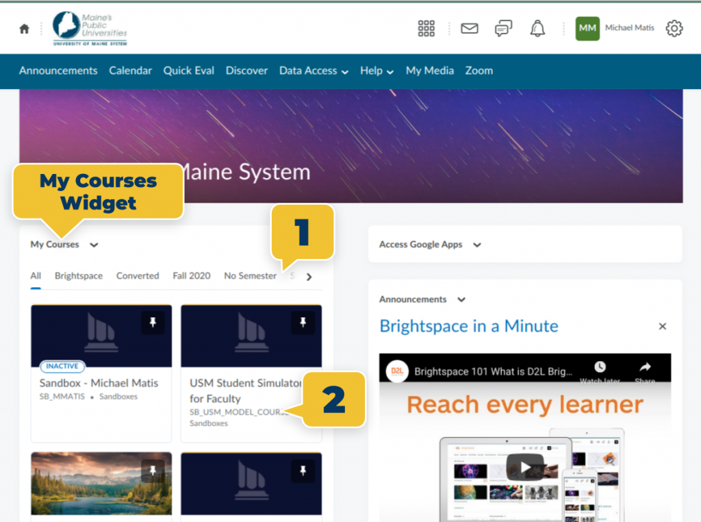 "screenshot of Brightspace. Block on the left hand side reads ""my courses"" and has a tag pointing to it reading ""My Course Widget."" Just under that is scrollable bar with a tag pointing to it labeled ""1"" corresponding to text above. Under that is the courses, with a tag pointing to it labeled ""2"" corresponding to text above."
