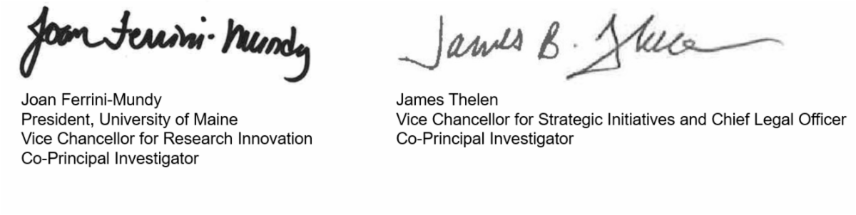 Signatures for Joan Ferrini-Mundy and James Thelen