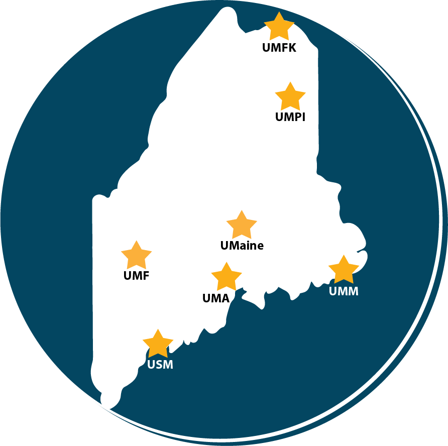 Map of state of Maine with a star location of each UMS University. UMFK at top. UMPI just below that. UMaine in the middle. UMA just below that. UMM on the far right. UMF on the left. USM near the bottom.
